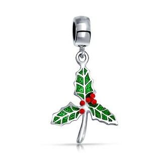 Bling Jewelry Christmas Mistletoe Dangle Charm Bead .925 Sterling Silver