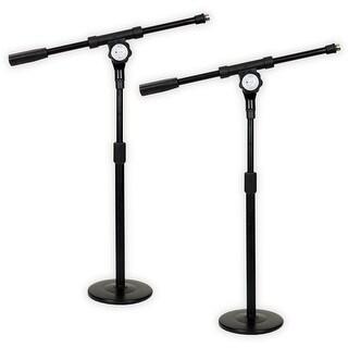 Podium Pro MS4 Tabletop Boom Microphone Stands Adjustable DJ Podcast Kick Drum Mic 2 Stand Set MS4-2S