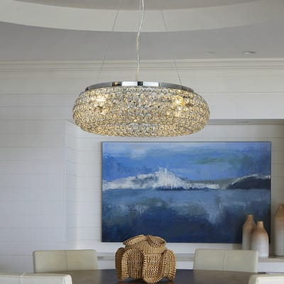 4 - Light Chrome Unique/Statement Circular Ring Crystal Chandelier