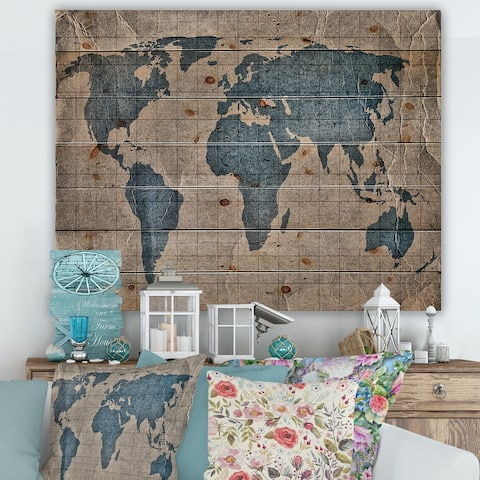 Designart 'Ancient Map of The World I' Rustic Print on Natural Pine Wood