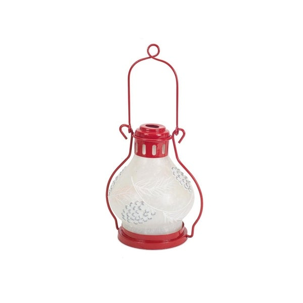 "12"" Country Cabin Battery Operated LED Lighted Red and White Pine Cone Lantern with Timer"