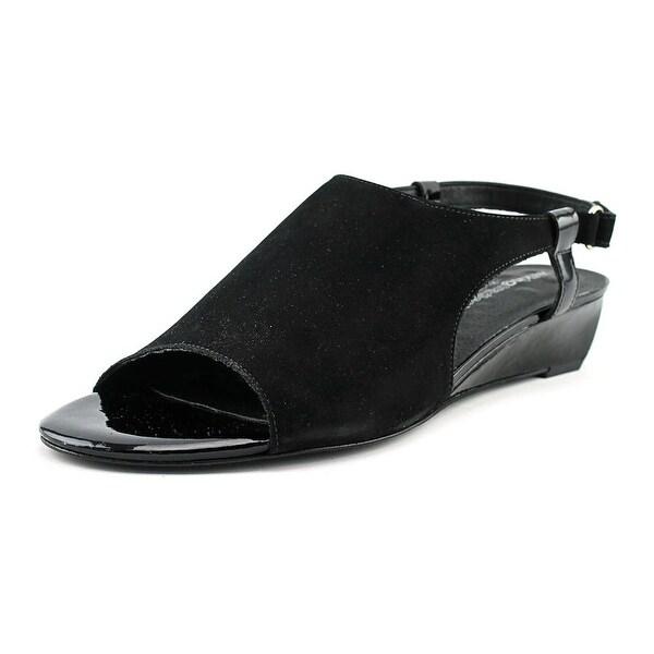 Walking Cradles Daphne Women Open-Toe Leather Black Slingback Sandal