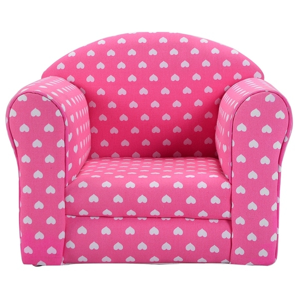 Costway Pink W Stars Kid Sofa Armrest Chair Couch Children Living Room Toddler Furniture