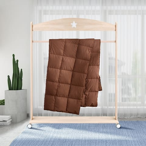 All Season Travel/ Throw Blanket with Down Filling in Red, Blue, Brown and Tan