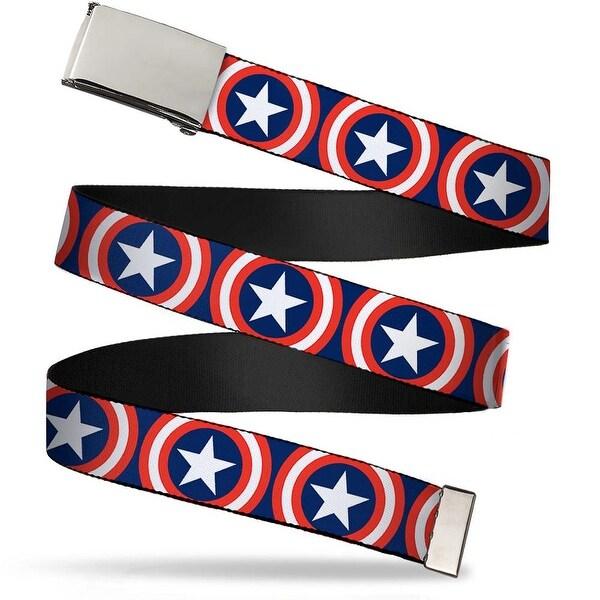 Marvel Universe Blank Chrome Buckle Captain America Shield Repeat Navy Web Belt