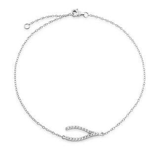 Bling Jewelry Sterling Silver Pave CZ Ankle Bracelet Adjustable