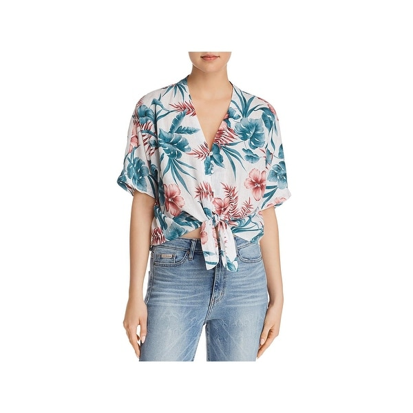 bc8a117c Shop Rails Womens Thea Button-Down Top Linen Floral Print - Free ...