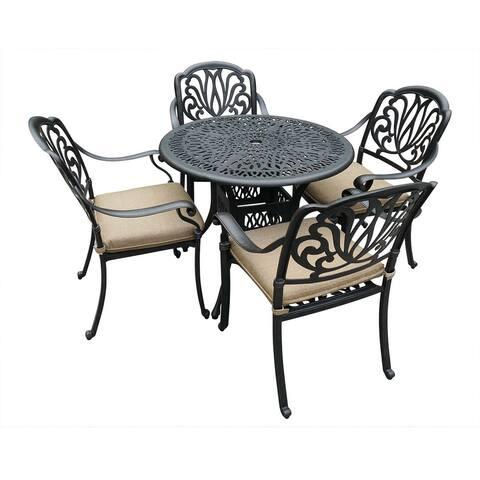 Kinwell 5-piece All-weather Cast Aluminum Patio Dining Set W/ 4 Chairs, Umbrella Hole, Lattice Weave Design
