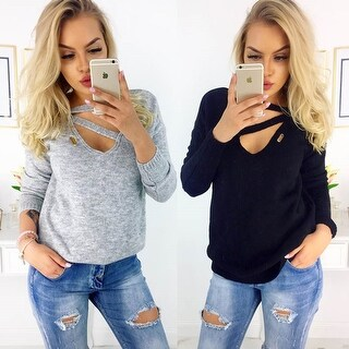 Link to Wool V-Neck Long-Sleeved T-Shirt Tops Women Similar Items in Tops
