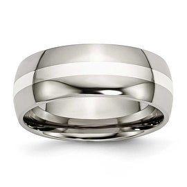 Chisel Sterling Silver Inlaid Polished Titanium Ring (8.0 mm)
