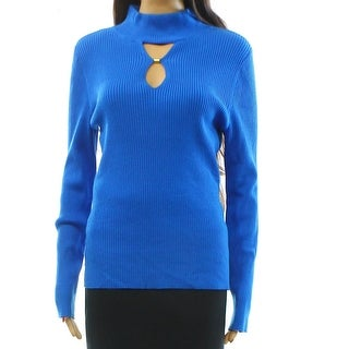 INC NEW Blue Women's Size Large L Keyhole Ribbed Mock-Neck Sweater