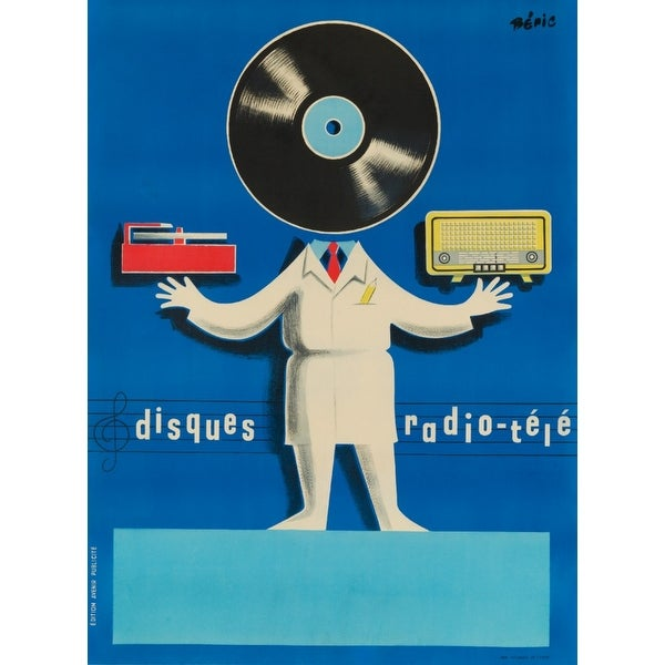Disques Radio - Tele - Beric 1950 - Vintage Ad (Acrylic Wall Clock)