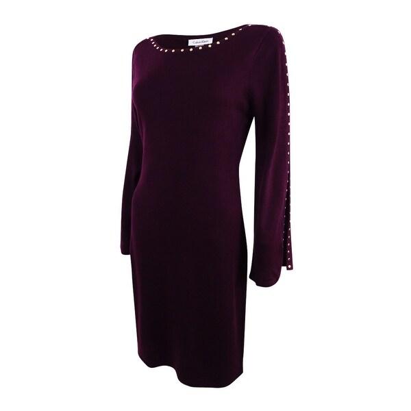 3c9c9c655d4 Shop Calvin Klein Women s Studded Split-Sleeve Sweater Dress - On ...