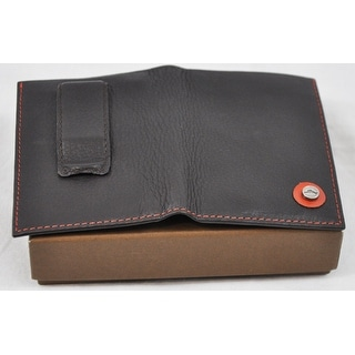 Tommy Bahama Mens Bifold Card Case Dark Brown with Steel Marlin Pin