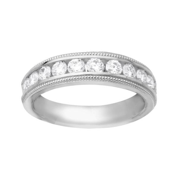 3/4 ct Diamond Milgrain Bead Anniversary Band in 14K White Gold