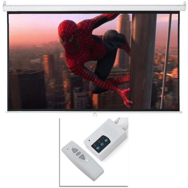 """Onebigoutlet 100"""" Foldable Electric Motorized Projector Screen wtih Remote Control, 16:9"""