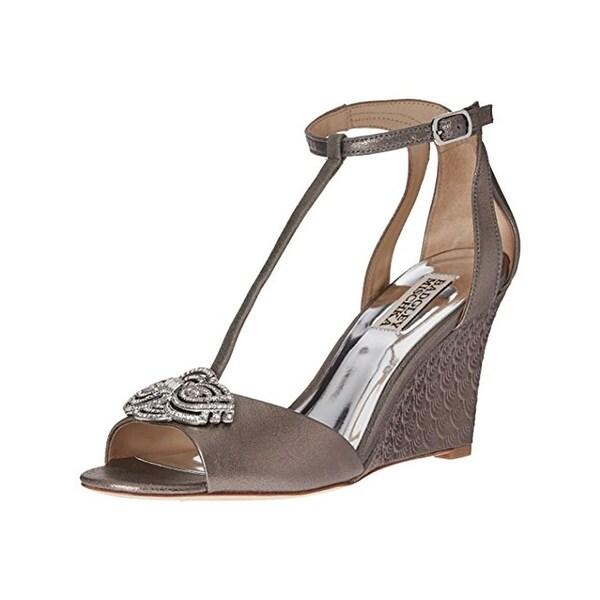Badgley Mischka Womens Nedra II Wedge Sandals Embellished Gray 8.5 Medium (B,M) - 8.5 medium (b,m)