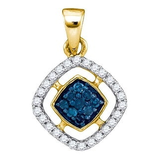 Cushion Cluster Pendant 10K Yellow-gold With Diamonds 0.2 Ctw By MidwestJewellery - Blue