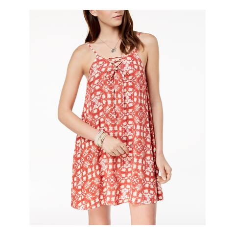 ROXY Womens Red Cross Over Tie Floral Spaghetti Strap Square Neck Above The Knee Shift Dress Juniors Size: XS