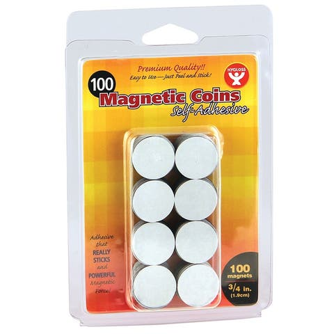 Self-Adhesive Magnetic Coins, 3/4-Inch, 100 Per Pack, 6 Packs