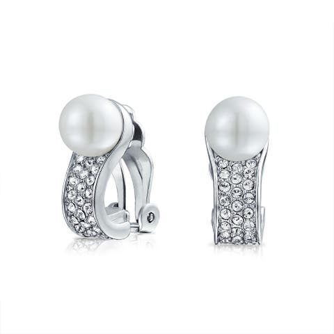 Bridal Crystal White Clip On Imitation Pearl Earrings Silver Plated