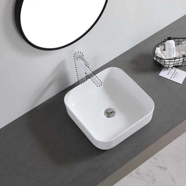 "Ceramic Basin Above Counter Basin Rounded Square White - 7'6"" x 9'6"". Opens flyout."