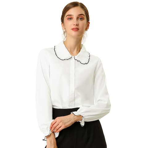 Women's Sweet Ruffle Peter Pan Collar Long Sleeves Button Up Shirt - White