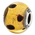 Italian Sterling Silver Reflections Dark Yellow & Brown Glass Bead - Thumbnail 0
