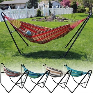 Medium image of sunnydaze cotton double brazilian hammock  u0026 multi use universal stand  bo style options available