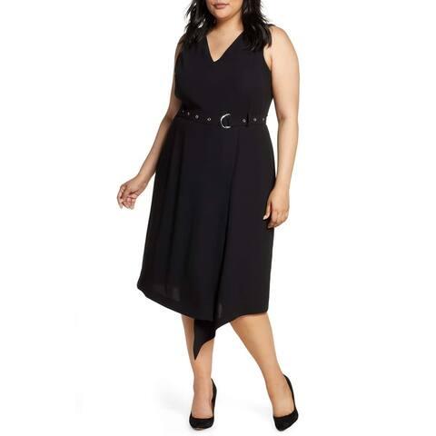 Vince Camuto Women's Dress Black Size 20W Plus Sheath V-Neck Belted