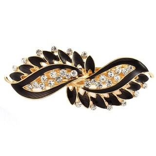 Lady Rhinestone Inlaid Leaf Style Spring Loaded Hair Barrette Clip Black