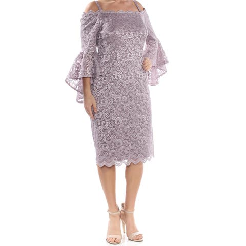 R&M RICHARDS Womens Purple Lace Bell Sleeve Below The Knee Cocktail Dress Size: 12