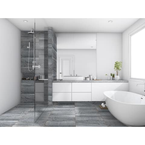 "12""x24"" Porcelain Marble-Look Floor Tile (1 Carton/15.50 SQFT)"