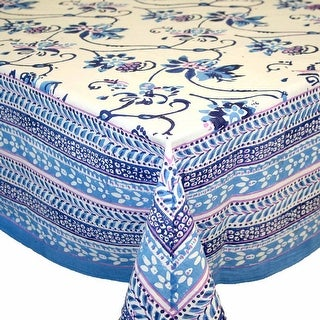 Handmade Royal Floral Block Print 100% Cotton Tablecloth Blue 60x90 Rectangular Round Square
