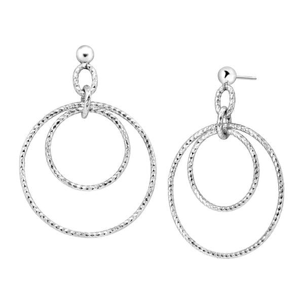 Drop Hoop Earrings in Sterling Silver Plate - White