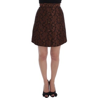 Dolce & Gabbana Brown Floral Brocade Mini Bubble Skirt - it40-s