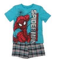 Marvel Little Boys Blue Spiderman Printed Tee Plaid 2 Pc Shorts Set
