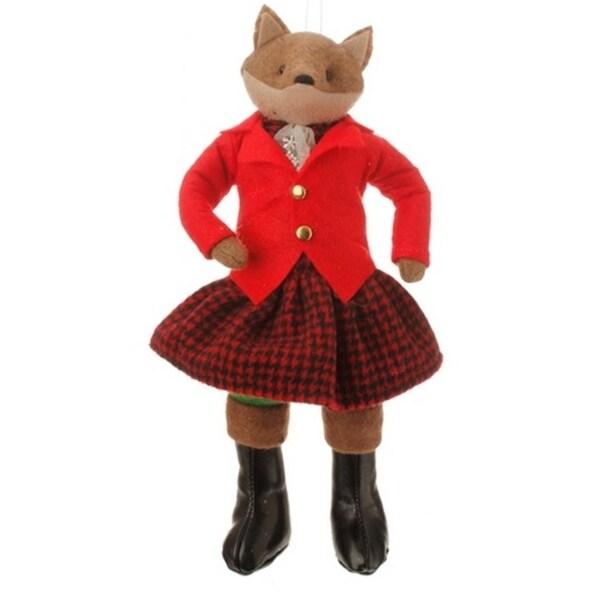 "10.5"" Christmas Traditions Holiday Girl Fox Plush Christmas Ornament - RED"