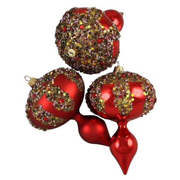 """3ct Red Glitter Sequin Beaded Shatterproof Christmas Finial Ornaments 5"""""""