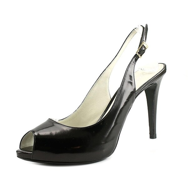 Martin Clay Barbay Women  Peep-Toe Patent Leather Black Slingback Heel