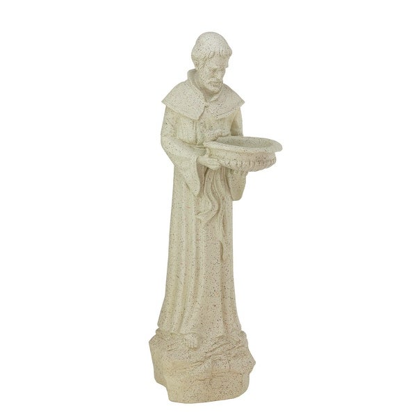 "24"" Speckled Gray St. Francis of Assisi Religious Outdoor Patio Garden Statue Bird Feeder"