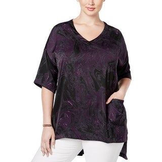Seven7 Womens Plus Blouse Satin Printed