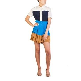 Prada Women's Silk Pleaded Buttoned Dress Blue - 8