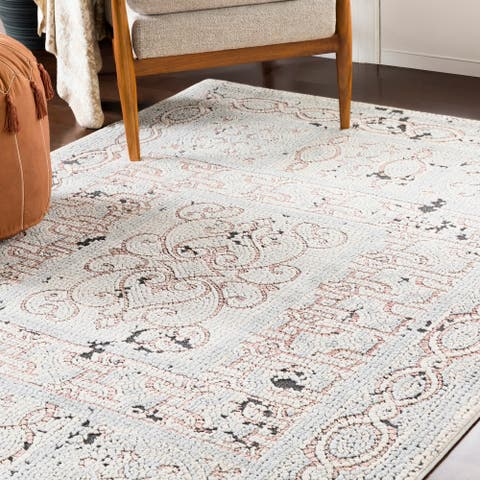 """Lucca Beige & Gray Distressed Mosaic Area Rug - 6'7"""" x 9'6"""""""