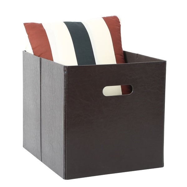 Tidy Living - PU Faux Leather Storage Bin - Large  sc 1 st  Overstock.ca & Shop Tidy Living - PU Faux Leather Storage Bin - Large - Ships To ...