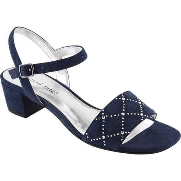 c03426bee Shop David Tate Women's Allana Ankle Strap Sandal Navy Microfiber ...