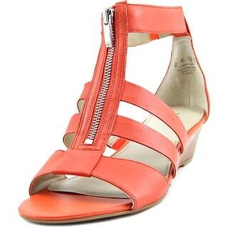 Franco Sarto Unveil Women Open Toe Leather Orange Wedge Sandal