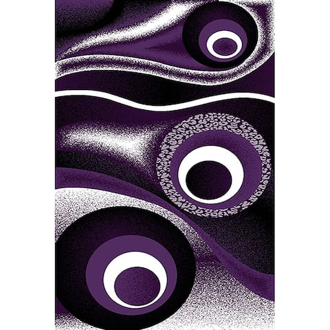 LYKE Home Purple geometric wave inspired Rug