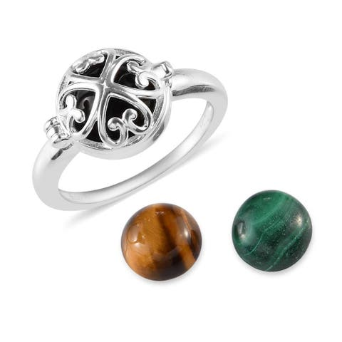 925 Sterling Silver Black Onyx Malachite Statement Ring Ct 6.9