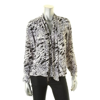 Vince Camuto Womens Blouse Printed Tie Neck - s